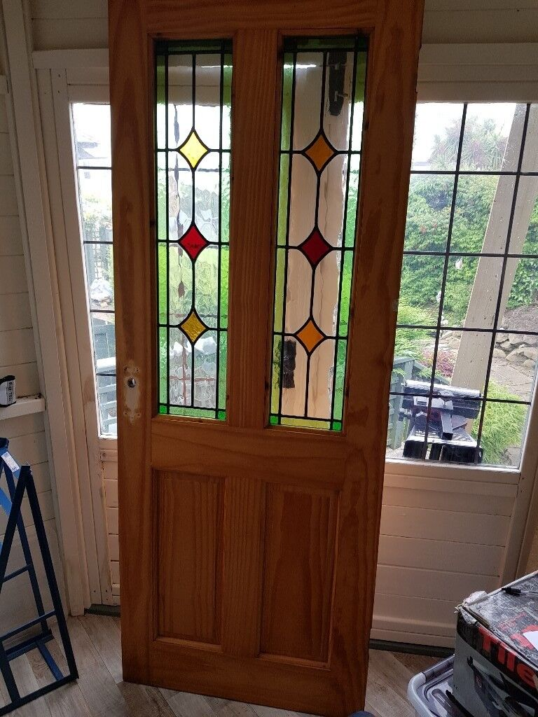 Internal Door With Leaded Glass Panels In Whitehead