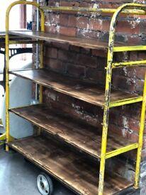 Rustic factory cart/shelving