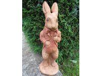 Vintage Style Irresistible Tall Smart Peter Rabbit English Stone Garden Statue