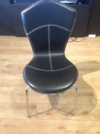 Quality Faux Black Leather Dining Room Chairs SET of 4.