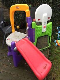 Little tikes fold away climber (slide, football and basketball net)