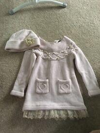 Girls knitted dress & hat