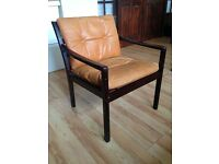 Armchair - FREE! - vintage dark wooden frame with tan leather seat pads