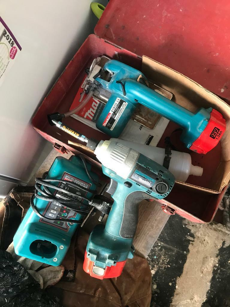 Makita tile cutter and impact driver