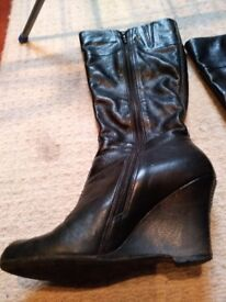 Kenneth Cole Black Wedge Knee High Boots