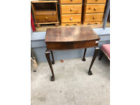Walnut Bow Fronted Hall Table - With Ball and Claw Feet Size L 26in D 16in H 28in Local Delivery