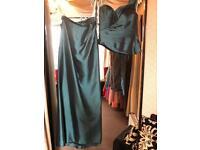 Petrol - taffeta- 2 piece dress