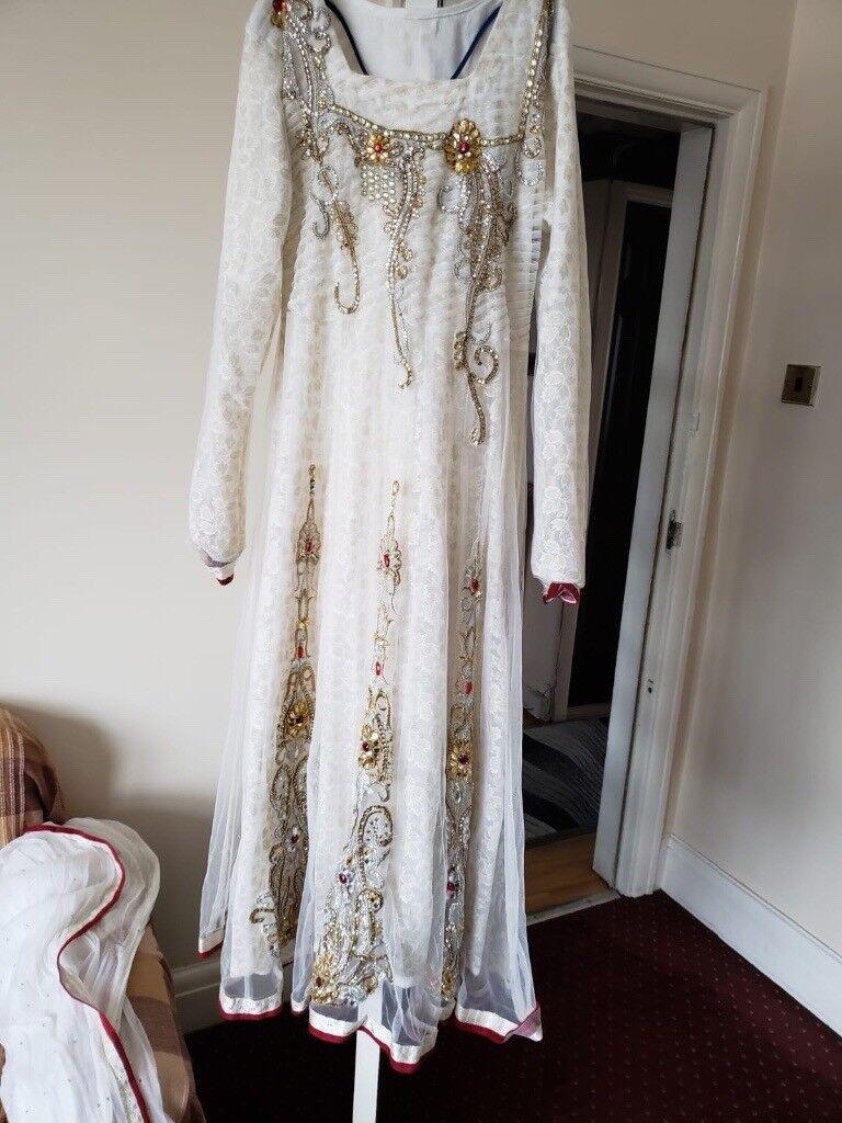 Cream White Gold Wedding Dress Dress Asian Dress Party Dress