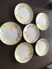 Six side plates Sainsbury's cherry & pear pattern