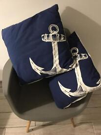 Pair of Anchor nautical cushions