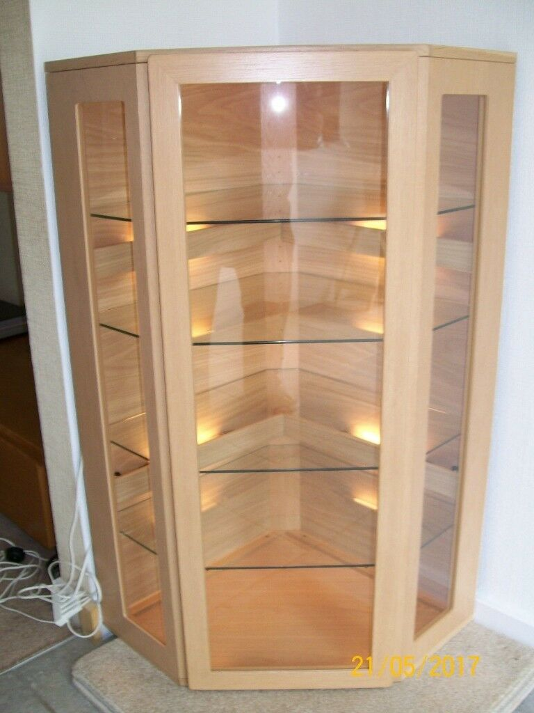 Display Unit Cabinet Corner Glass Display Cabinet By