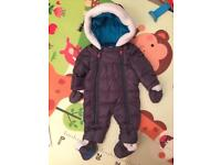 One time used TED BAKER baby snowsuit 0-3