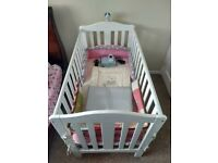 Cot bed + baby video monitor + extras