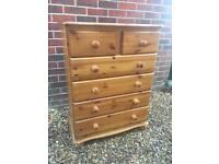 Solid chunky pine chest of drawers. Dovetail Joints