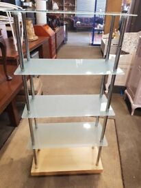 5 Tier Glass Shelving Unit - Lounge - Study - Bedroom - Display - Bookshelf