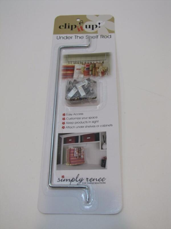 NIB Get Organized! Simply Renee CLIP IT UP Under The Shelf Rod with 15 Clips