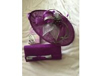 Ladies Purple and Silver Hat & Matching Clutch Bag