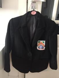 Girls black polyester blazer with Eastwood High logo - 29""