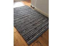 Natural woven blue, navy and hessian rug