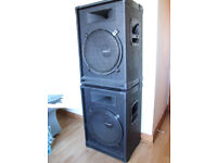 """Pair of Eminence 350W 8 Ohm 15"""" Bass Reflex & Horn PA Cabinets"""
