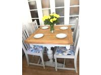 SHABBY CHIC TABLE+CHAIRS FREE DELIVERY LDN🇬🇧SOLID OAK
