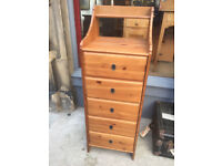 Modern Tall Boy Chest of Drawers , with 5 drawers . Size 19 in x 19in H 54in. Free Local Delivery
