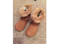 Next Tan suede lined boots 13 new
