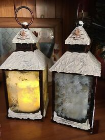 Flickering candle lanterns