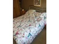 King Size Bed, Mattress & Chrome Headboard