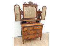 Vintage wooden chest of drawers with mirror (Delivery)