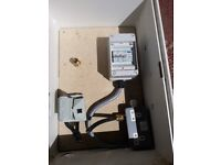 Electricity Supply Distribution box for site supplies c/w fuse cut-out, mcbs and 2 x13a sockets