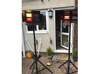 Stairville HL-40 DMX Flood DJ lighting x 2 with heavy duty stands and custom flight case