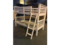 3FT Solid Brazilian Pine Bunk Bed in White