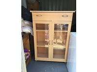 Bookcase with drawer and two glass doors for sale