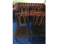 Vintage Set Of 4 G PLAN Solid Teak Dark Wood High Back Dining Chairs Windsor Covers