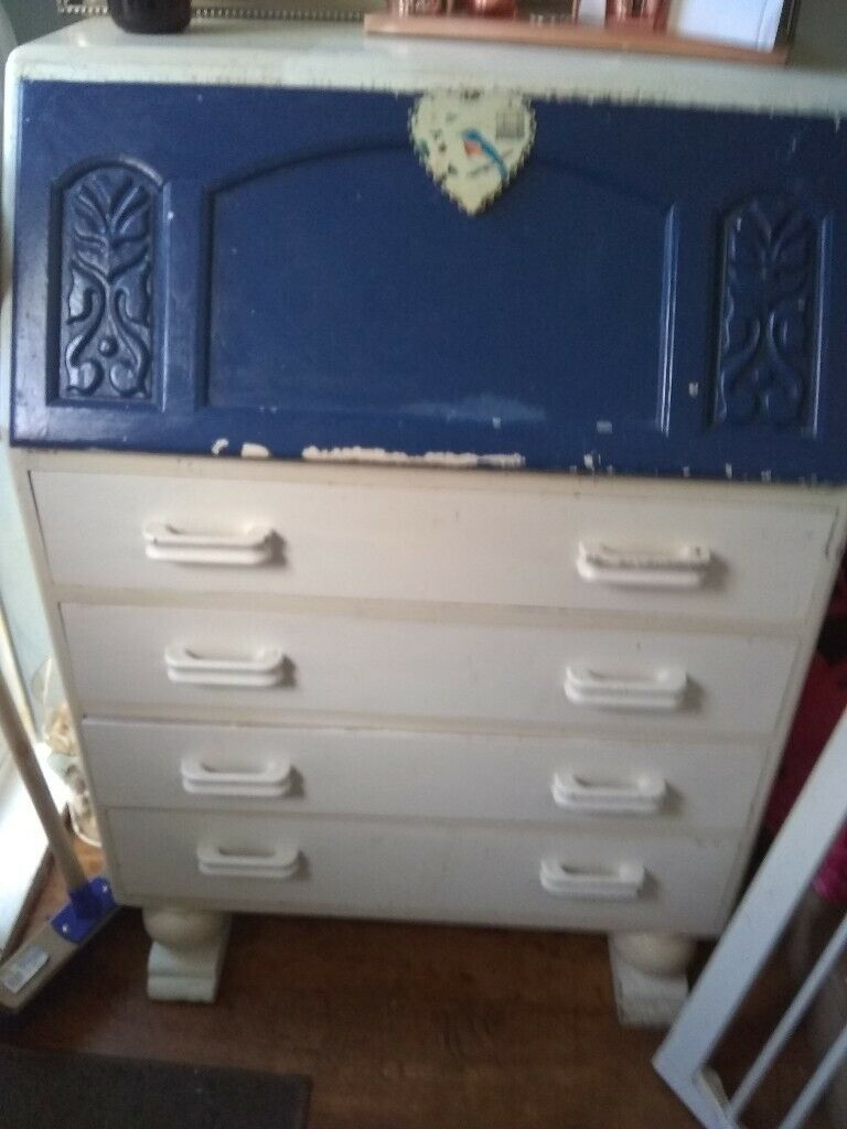 Bureau,vintage solid wood piece of furniture ,idea to repaint or sand | in  Hartlepool, County Durham | Gumtree