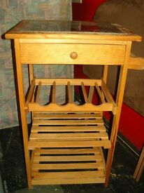 Pine Kitchen Trolley Butchers Block with Wine Rack Drawers and Shelves