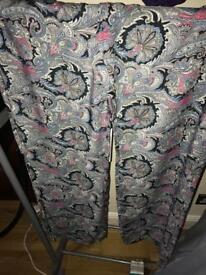 Ladies wide leg paisley pattern trousers