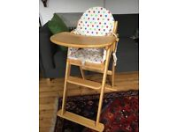 Folding Wooden High Chair with Padded Insert