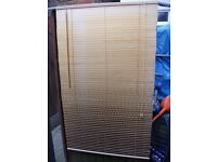 Wooden wood venetian blind 90cm (wide) x 150cm (long) with fixings and top trim.