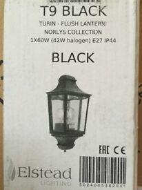 3x External Black Turin Flush Wall Lantern Lights (Norlys)