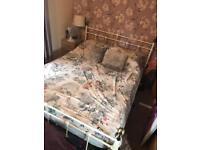 Cream & brass bed frame