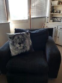 Charocal sofa and armchair £90