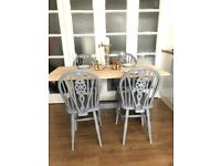 Oak Table and 4 chairs Free Delivery Ldn🇬🇧Shabby chic Grey