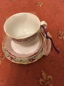 Teacup, saucer & side plate