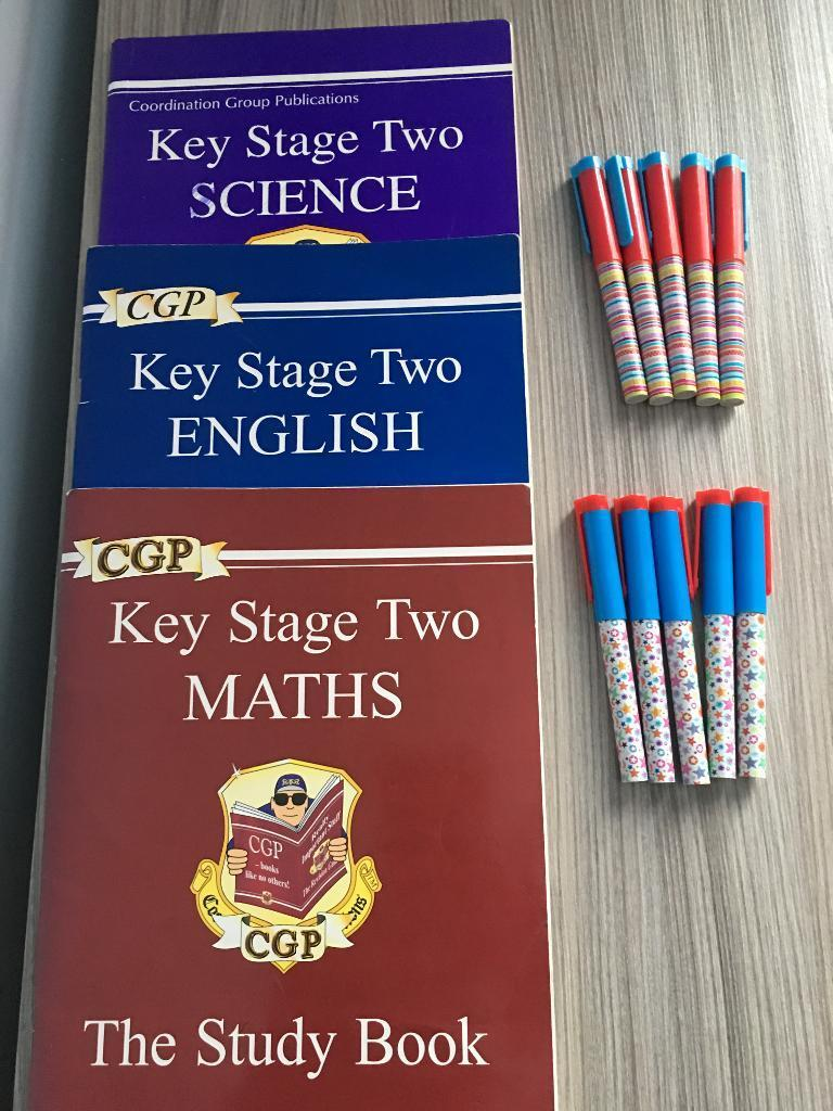 Ks2 English,Maths&Science homework books with 10 black&blue pens,bargain for all at £15