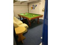 8ft x 4ft slate-bed Powerglide Snooker & Pool & Table Tennis table - includes all accessories