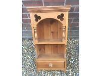 Lovely solid chunky pine wall display cabinet