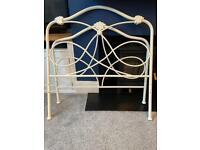 Pretty cream single metal bed frame