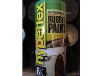 Rubber spray paint. Gloss black